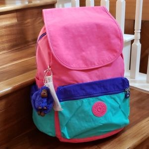 NWT kipling Ezra backpack Hydrangea color block